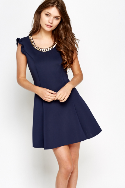 Chain Neck Scuba Swing Dress