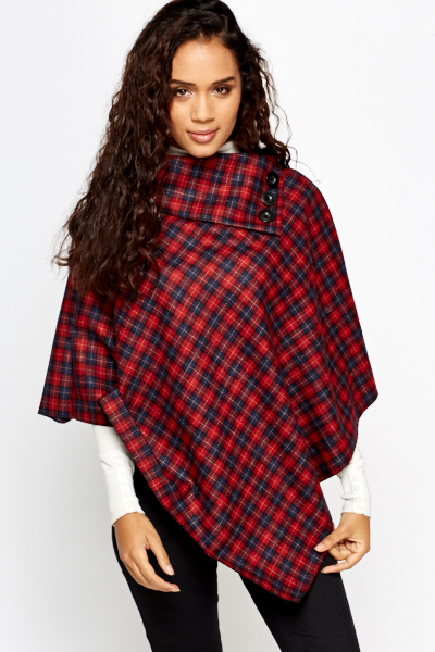 Cowl Neck Checked Poncho