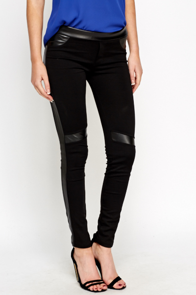 Faux Leather Insert Joggers