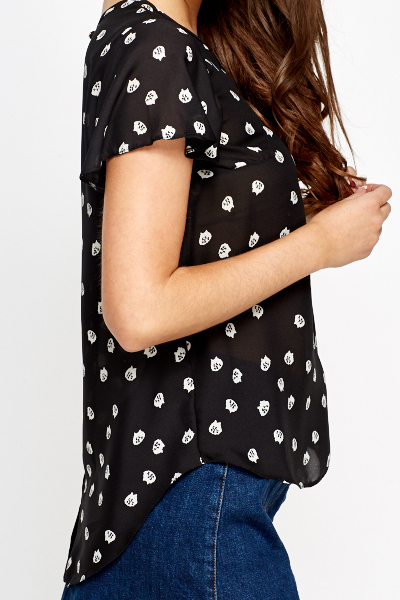 Flared Sleeves Shirred Blouse