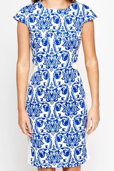 Lace Trim Paisley Bodycon Dress
