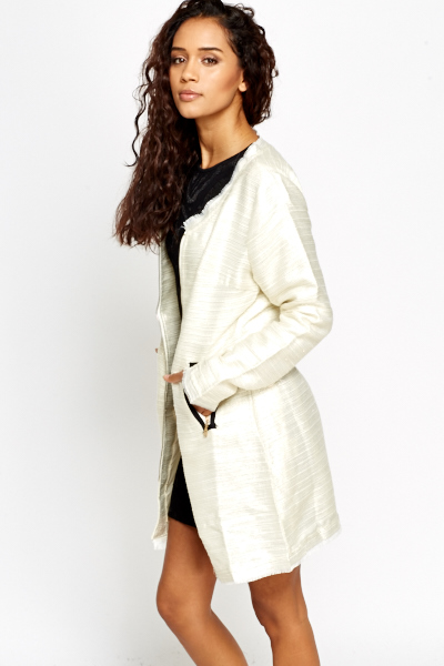 Metallic Zip Up Coat