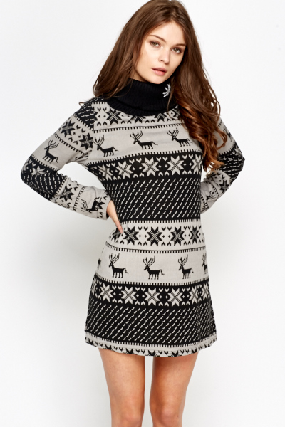 Mix Knit Roll Neck Jumper Dress
