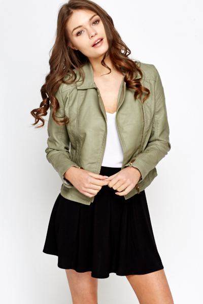 Zip Detail Faux Leather Jacket
