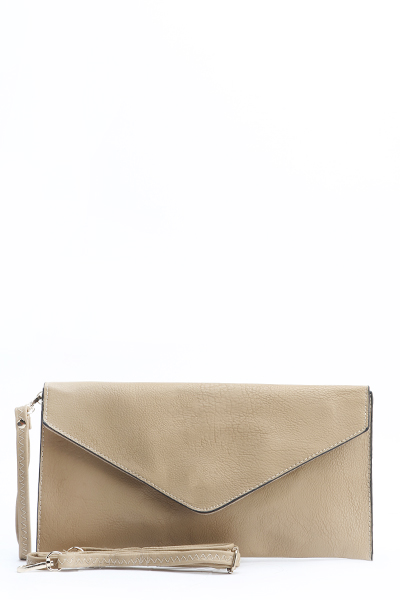 Basic Faux Leather Envelope Clutch Bag