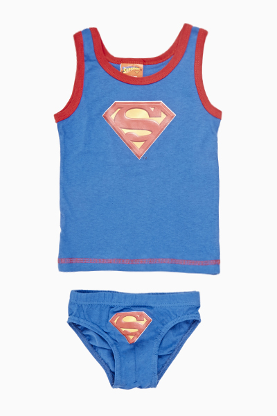 Contrast Superman Vest And Pants Set