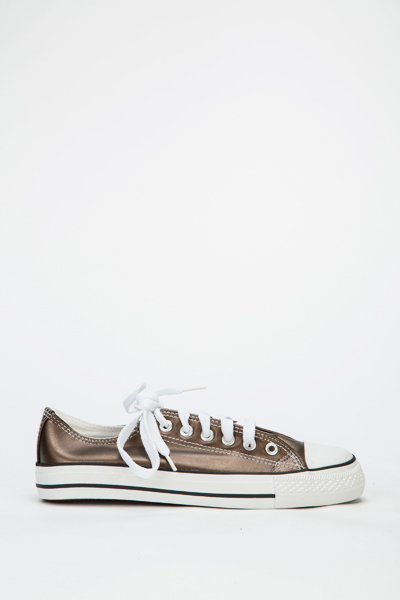 Faux Leather Canvas Trainers