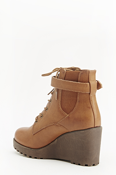 Tan Wedge Boots