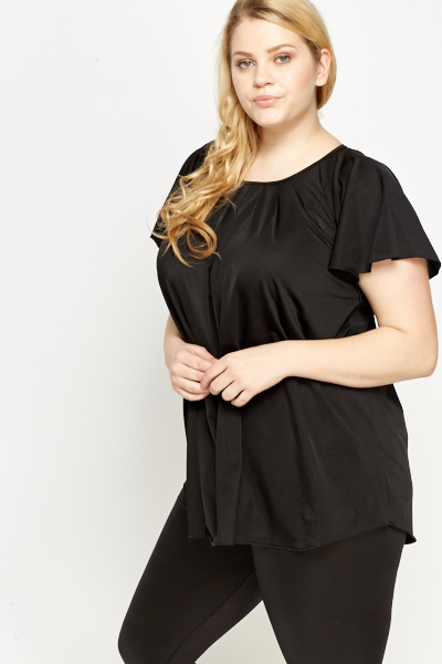Black Flared Sleeve Top