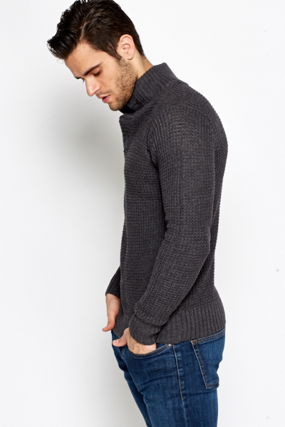 Button High Neck Jumper
