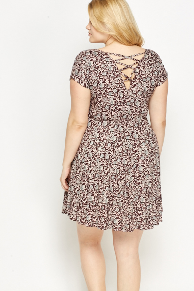 Criss Cross Strap Back Floral Dress