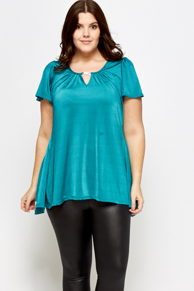 Embellished Neck A-Line Top