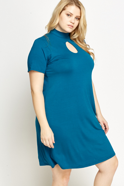 Keyhole Front Teal Dress