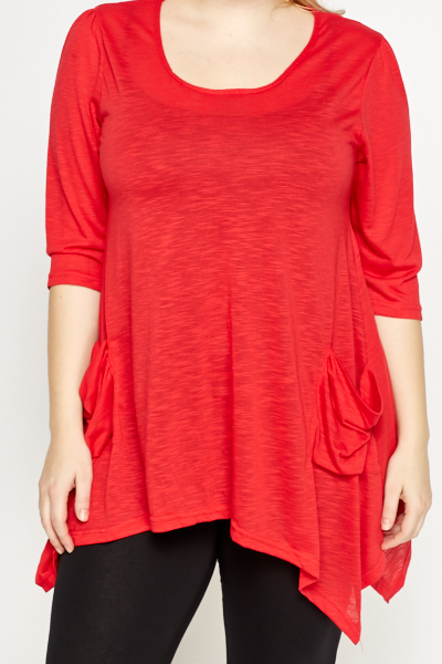 Red Asymmetric Tunic