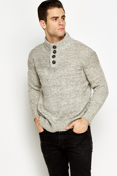 Speckled Button Up Neck Jumper