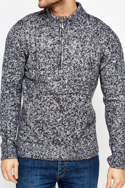 Speckled High Neck Zip Jumper