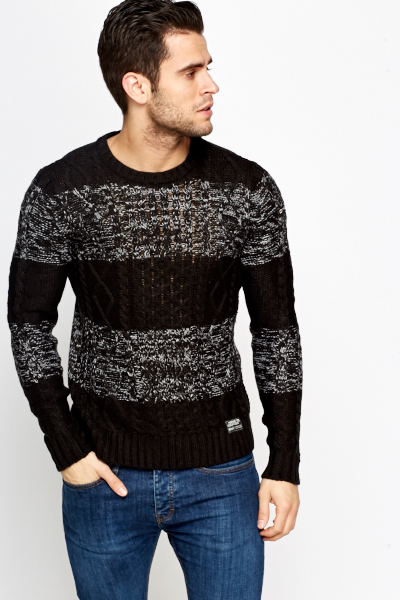 Speckled Striped Knit Jumper