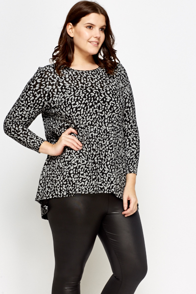 Textured Leopard Print Top