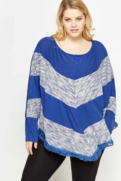Woven Trim Batwing Sleeve Top
