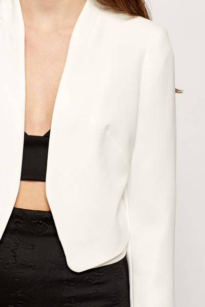 Cropped Open Front Blazer