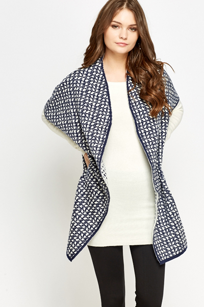Cropped Sleeve Printed Cardigan