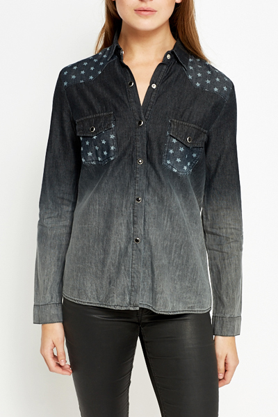 Distressed Star Print Cotton Shirt