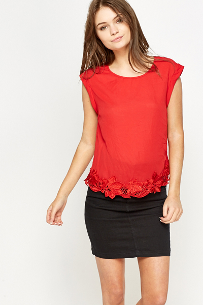 Embroidered Floral Hem Silky Blouse