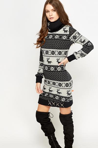 Fair Isle Roll Neck Jumper Dress - Just £5