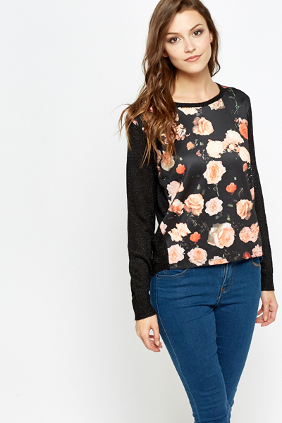 Floral Panel Contrast Knit Top