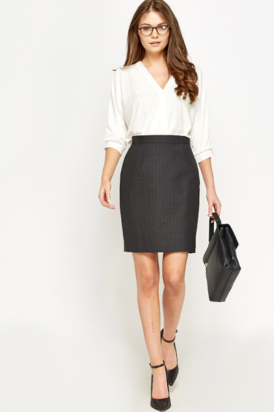 Formal Charcoal Pinstripe Skirt
