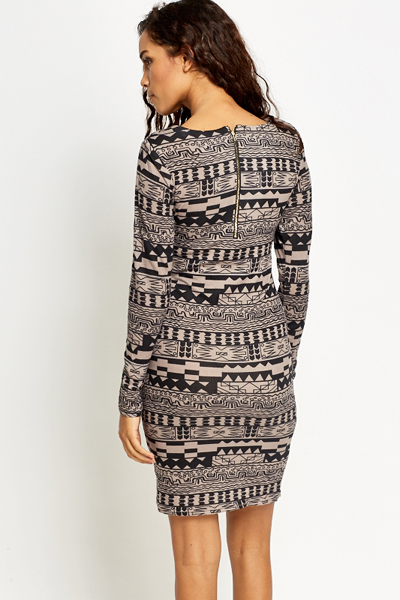 Light Grey Aztec Bodycon Dress