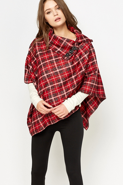 Metallic Button Neck Poncho