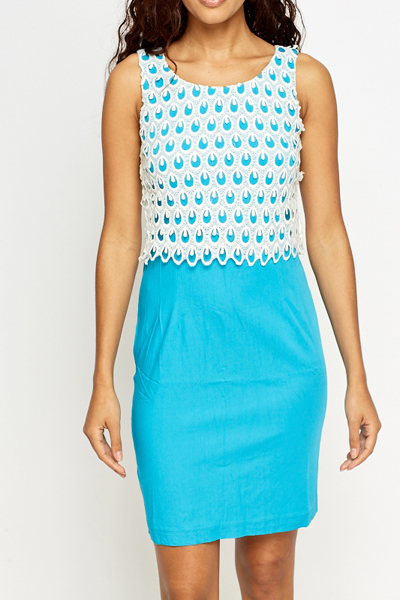 Peacock Overlay Contrast Dress