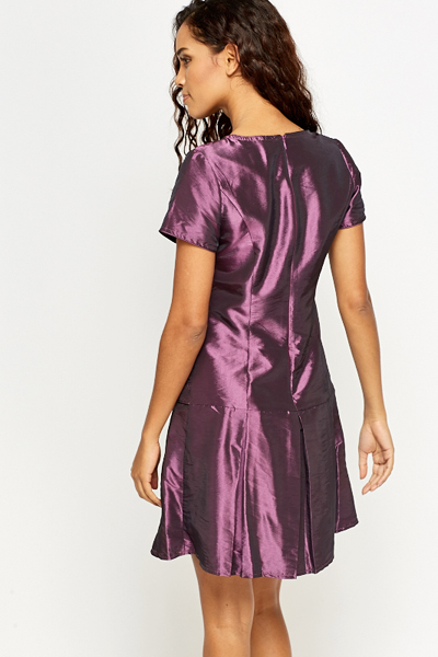 Purple Pleated Hem Dress