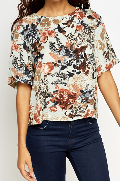 Tie Up Back Floral Blouse