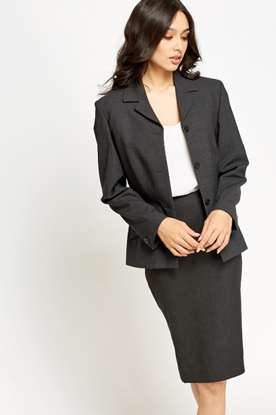 Charcoal Formal Fitted Blazer