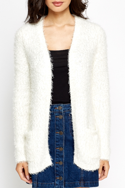 Fluffy Knit Long Cardigan