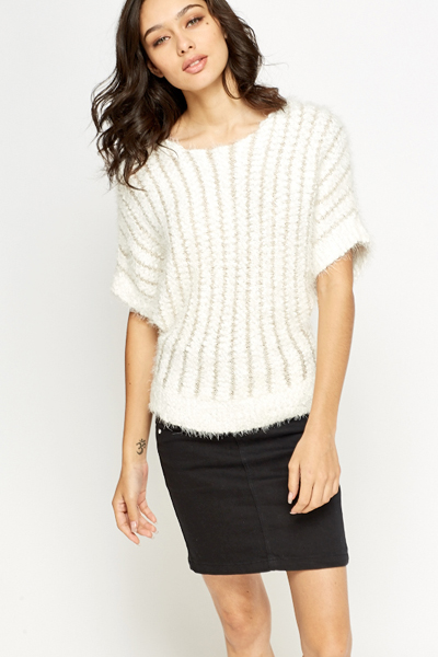 Fluffy Metallic Contrast Jumper