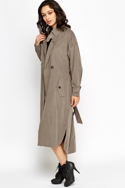 Grey Long Trench Coat