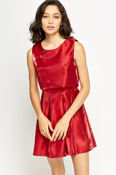 Pleated Overlay Silky Dress