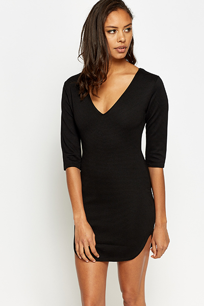 Textured Curved Hem Dress