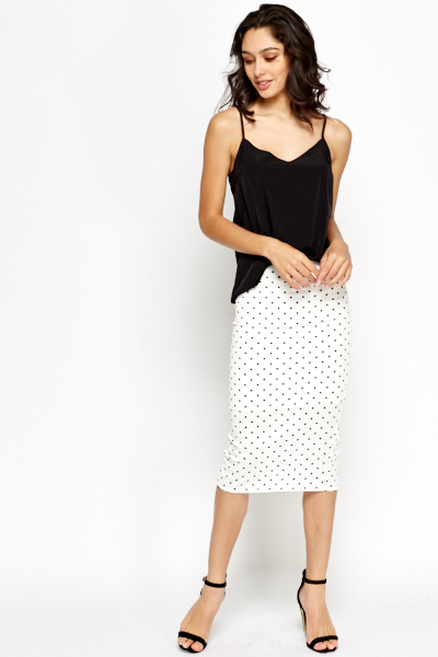 White Polka Dot Midi Skirt