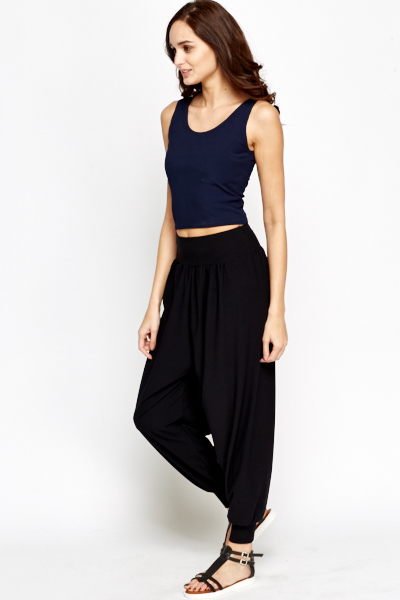 Black Elastic Ali Baba Trousers