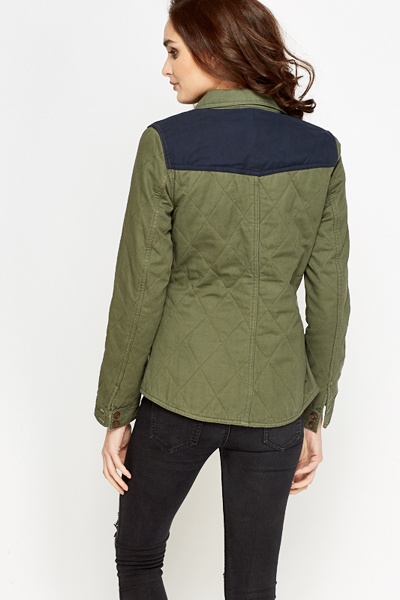 Contrast Quilted Casual Jacket
