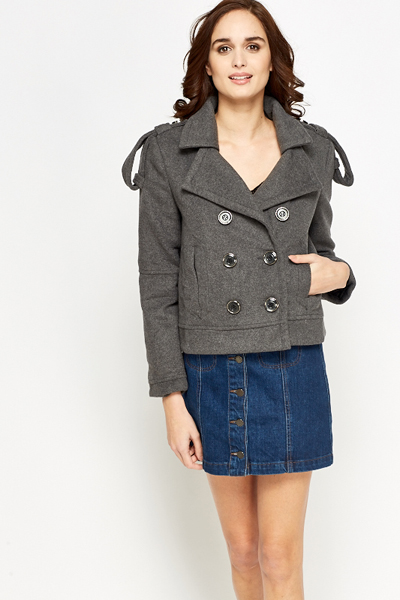 Cropped Button Up Casual Coat