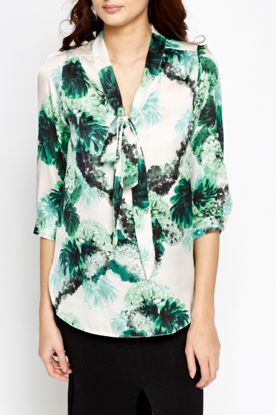Green Multi Floral Blouse