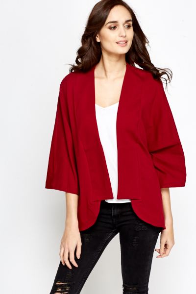Lapel Cropped Sleeve Cardigan