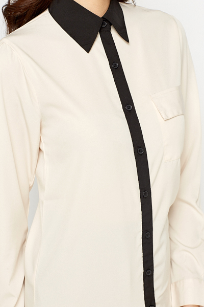Light Peach Contrast Blouse