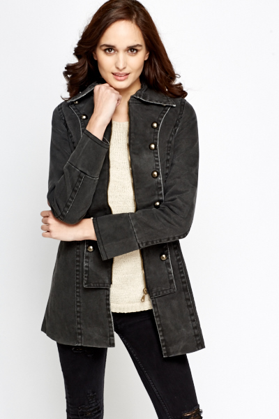 Military Style Denim Jacket