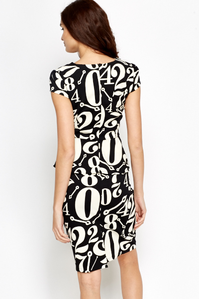 Number Print Mono Peplum Dress